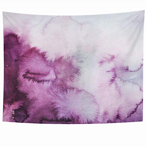 AlliuCoo Wall Tapestries 60 x 50 Inches Watercolour Plum Purple Clouds Watercolor Ombre Wash Abstract Brush Home Decor Wall Hanging Tapestry Living Room Dorm