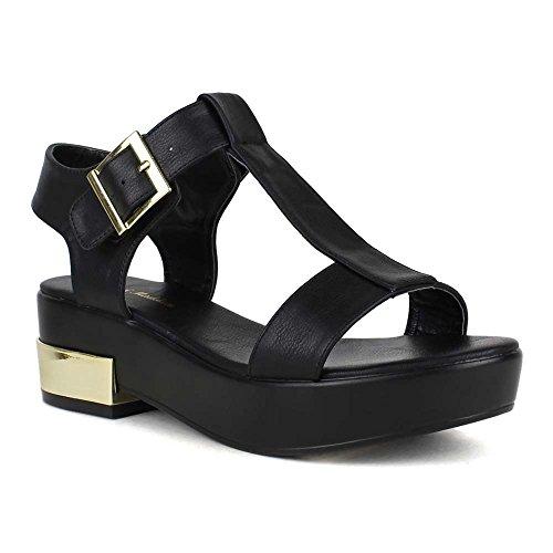 Mark&Maddux JESSE-01 Medium Heel Platform T-Strap Buckle Open Toe Sandals in BLACK