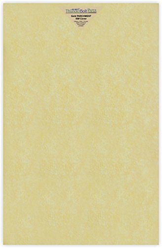 1000 Gold Parchment 65lb Cover Weight Paper 11 X 17 Inches Cardstock Colored Sheets Tabloid|Ledger Size -Printable Old Parchment Semblance by ThunderBolt Paper