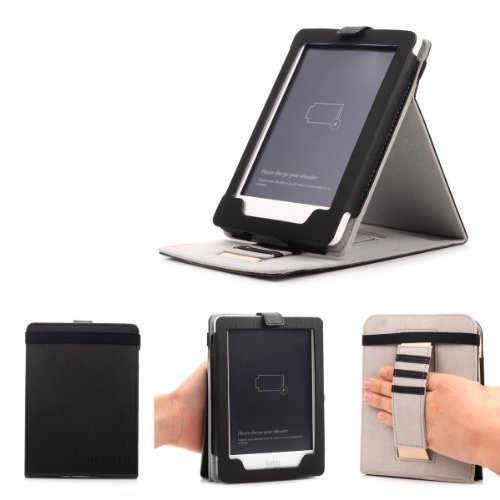 Mulbess - Kobo Glo /Glo HD Stand Case Cover - Leather Case Cover with Elastic Hand Strap (For Kobo Glo/Glo HD, Stand Black)