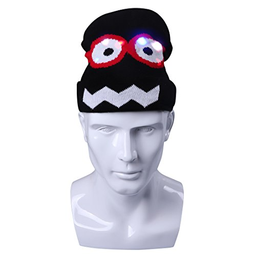 Light up Hat, DAXIN DX LED Knitted Flashing Beanie Hats/Caps for Men Women Kids - Cute Big Eyes Frog Hat - LED Rave Clothing Accessories, Party Favors