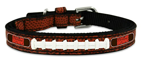 Nfl Football Black Genuine Jersey - NFL Cleveland Browns Classic Leather Toy Football Collar, One Size, Black
