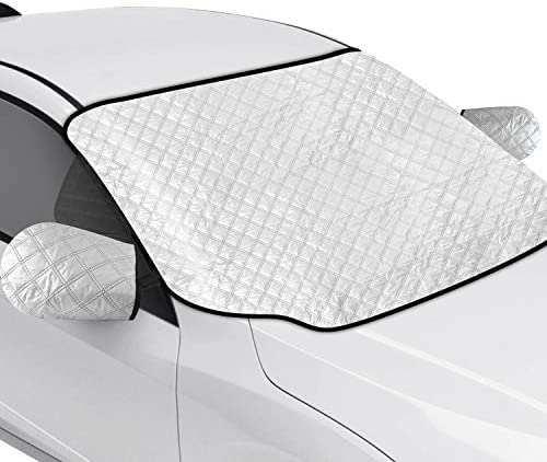 AURELIO TECH Magnetic Car Windshield Snow Cover with Side Mirror Covers for Ice Snow and Frost, Double Side Design, 4 Layers Protection, Extra Large, Fits Most Cars, Trucks, SUVs, Minivans