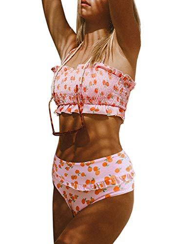 - Eytino Women Sexy Ruched Bandeau Bikini Set Printed High Waisted Strapless Swimsuit Swimwear,Large Pink