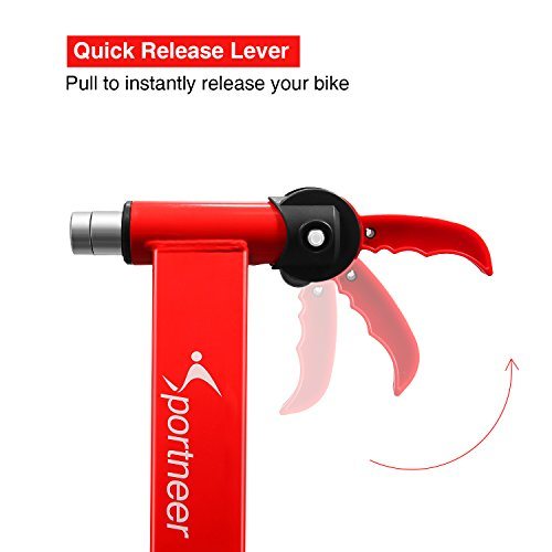 Sportneer Bike Trainer Stand Steel Bicycle Exercise Magnetic Stand with Noise Reduction Wheel, Red by Sportneer (Image #3)