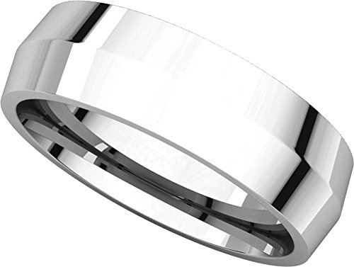 Mens 14K White Gold, Knife Edge Wedding Band 6MM (sz 8.5)