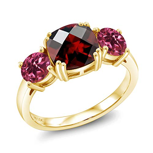Gem Stone King 3.40 Ct Cushion Checkerboard Red Garnet Pink Tourmaline 18K Yellow Gold Plated Silver Ring (Size 8)