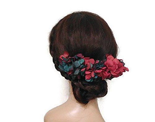 Peineta de flores rosa y azul, peineta de boda, tocado vestido largo, peineta