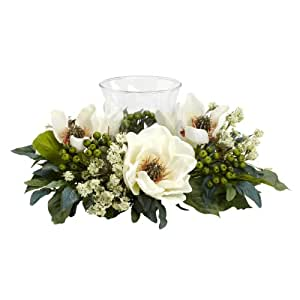 Nearly Natural 4794 Magnolia Candelabrum Silk Flower Arrangement, White