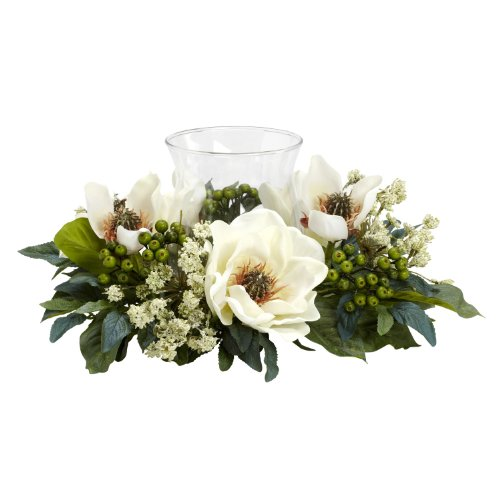 Magnolia Centerpiece (Nearly Natural 4794 Magnolia Candelabrum Silk Flower Arrangement, White)