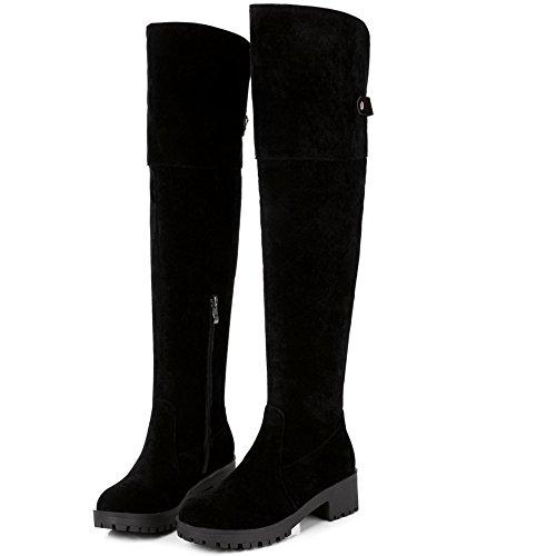 COOLCEPT Damen Klassische Mit Absatz Overknee Stiefel Winter Schuhe With Zipper Black