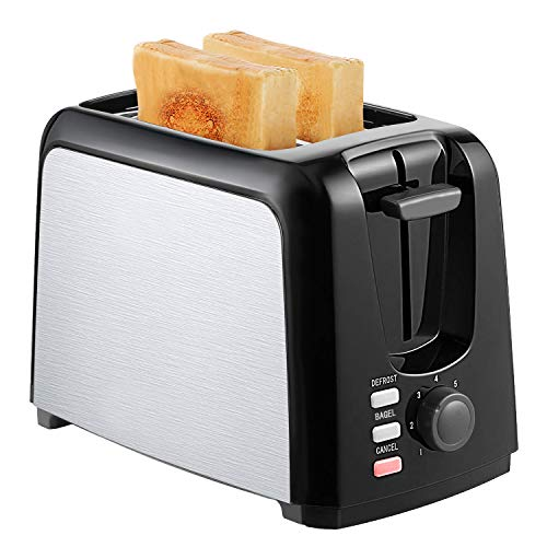 2 Slice Toaster Best Rated Prime Wide Slot Toasters 2 Slice Compact Black Stainless Steel Toaster with Bagel/Defrost/Cancel Function Removable Crumb Tray