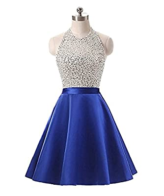 Meilishuo Women's Sparkly Beading Homecoming Dresses Halter Neck Sequined Prom Ball Gown Short 2017