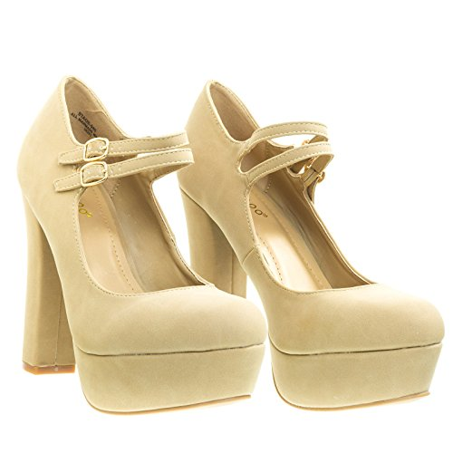 Straps amp; Pump Mary Natural Beige w Block Dress Chunky Double Heel Platform Jane UnnqRxw8v