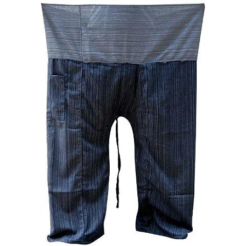 595d3a2f032e0 2 Tone Thai Fisherman Pants Yoga Trousers Free Size Plus Size Cotton Dark  Blue and Drill Striped Gray