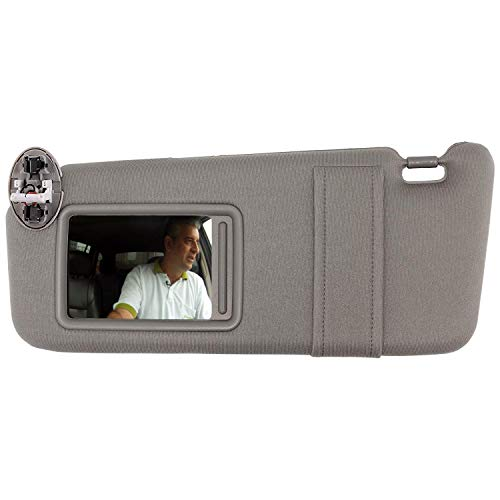(SAILEAD Left Driver Side Sun Visor for 2007 2008 2009 2010 2011 Toyota Camry and Camry HV with Sunroof and Light, Gray, LH )