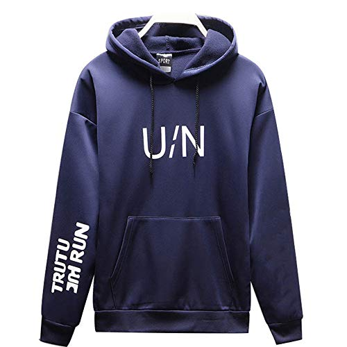Sunhusing Men's Letter Print Drawstring Hooded Top Pocket