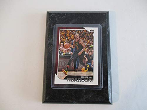 "GEORGE HILL CLEVELAND CAVALIERS 2018-19 NBA HOOPS PANINI PLAYER CARD MOUNTED ON A 4"" X 6"" BLACK MARBLE PLAQUE"