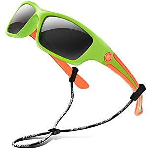 RIVBOS Rubber Kids Polarized Sunglasses With Strap Glasses for Boys Girls Baby and Children Age 3-10 RBK025 (Green)
