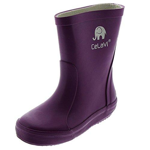 CELAVI 114763125 Kinder Mädchen Wasserdichte Gummistiefel, 100% Naturkautschuk Regenstiefel, Größe: 25, violett