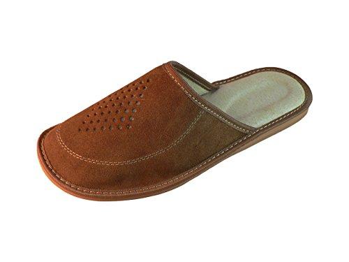 Zapatillas de estar por casa para hombre, ante, con suela ortopédica, varios colores marrón