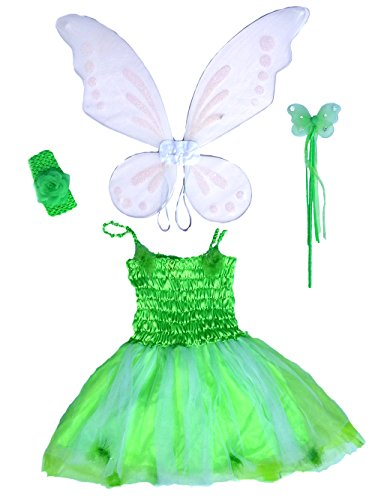[Tinker Bell Inspired Fairy Costume with Dress, Wings, Wand and Headband Size 5-7] (Tinkerbell Fairy Costumes For Women)