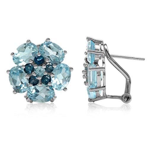 (9.78ct Genuine Blue Topaz & London Blue Topaz 925 Sterling Silver Flower Cluster Omega Clip Earrings)