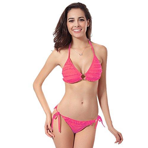 UDreamTime manera de las Femenino espalda escotada empuja hacia arriba el acolchado del bikini Set Un tamaño Pink