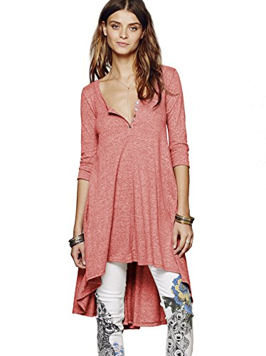 Urban CoCo Women's Half Sleeve High Low Loose Casual T-shirt Top Tee Dress (XX-Large, Red)