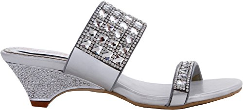 CFP Womens Comfort New Wedding Party Job Fashion Slip on Wedge Silver Sandals silvery JHyHE