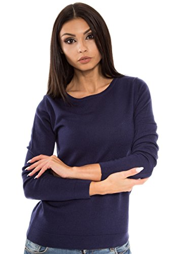 Women's Pure Merino Wool Classic Knit Top Lightweight Crew Neck Sweater Long Sleeve Pullover (Small, Navy) ()