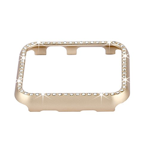 Fashion Metal Case with Bling Crystal Diamonds Plate Protective Cover Ultra Thin Bumper for Watch 38mm/42mm Series 1/2/3?Best 3D Bling Gift for Your iWatch) (Gold, 42 mm)