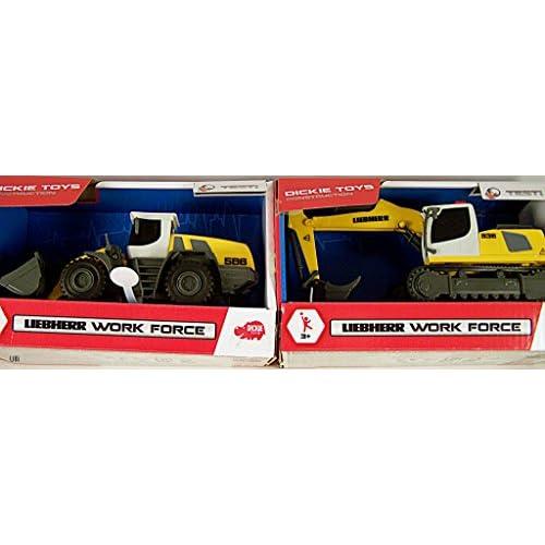 Dickie Toys Pelleteuse Liebherr Work Force Voiture de Jeu, Jaune