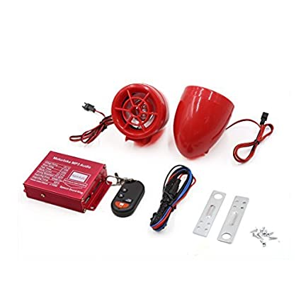 DealMux 2pcs Red Motorcycle MP3 SD USB Speaker amplificador de alarme de áudio estéreo DC 12V