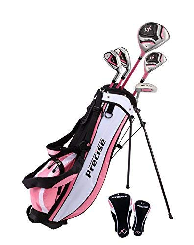 Distinctive Girls Right Handed Pink Junior Golf Club Set for Age 6 to 8 (Height 3'8'' to 4'4'') Set Includes: Driver (15''), Hybrid Wood (22, 2 Irons, Putter, Bonus Stand Bag & 2 Headcovers by Precise