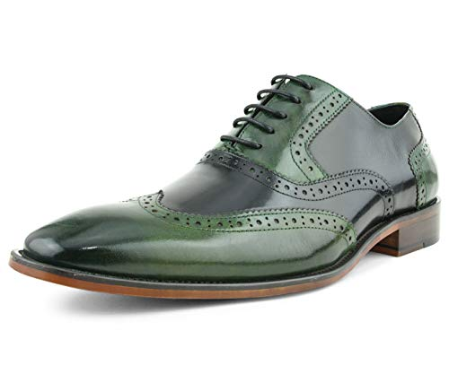 Asher Green Mens Two Tone Genuine Calf Leather Wingtip Spectator Oxford Dress Shoe, Low-Top or High-Top Green/Black ()