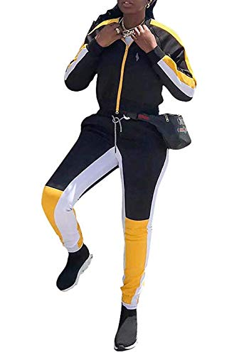 - Dolwins Womens Sport Color Block 2 Piece Tracksuits Outfits Zip Jacket and Pants(Black-Small)