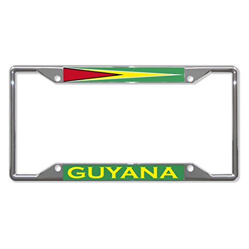 Fastasticdeals Guyana Flag Country Metal License Plate Frame Tag Holder Four Holes Chrome ()