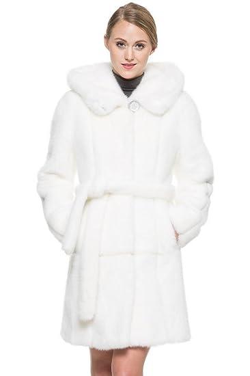 1ed7c9cc909cb OVONZO Women's Snow White Mink Faux Fur Coat at Amazon Women's Coats ...