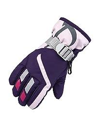Janedream Kids Ski Winter Snow Gloves Warm Waterproof Children Windproof Thickening Gloves for Girls Boys Purple