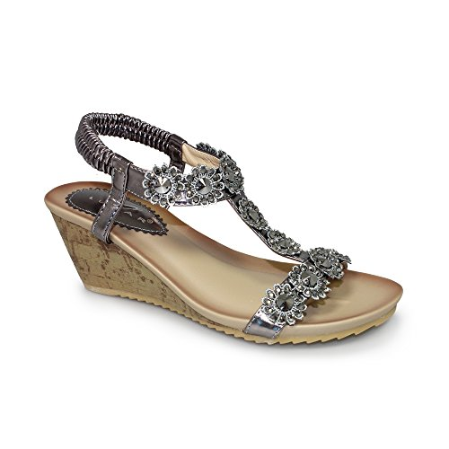 Lunar Women's JLH780 Cally Floral Wedge Sandal in Black, White, Beige, Pewter, Rose Gold Or Bronze,3,4,5,6,7,8 Pewter