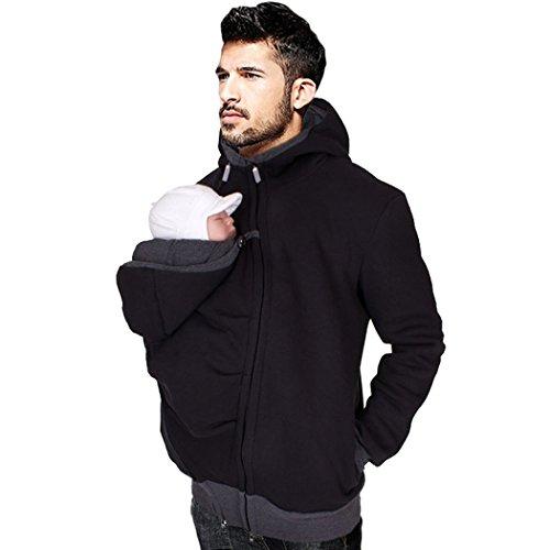 Astage Herren Zip hoodie 2in1 Känguru Papa Kapuzenpullover mit Baby Trägern
