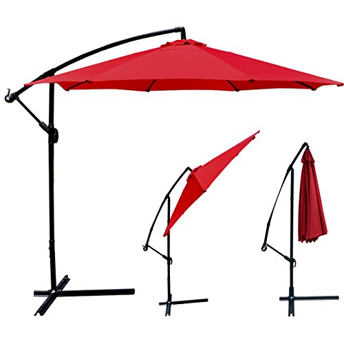 Patio Umbrella Offset 10′ Hanging Umbrella Outdoor Market Umbrella D10 (Red)