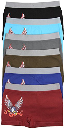 tobeinstyle-boys-pack-of-6-eagle-flag-seamless-boxer-briefs-medium