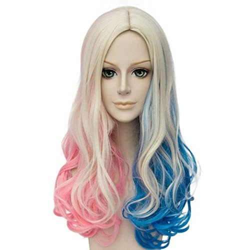 Falamka T3003 Andp film Suicide Squad Harley Quinn Cosplay Perruque pour fille femme couettes Rose Bleu Cheveux longs bouclés Cosplay Perruques (2)