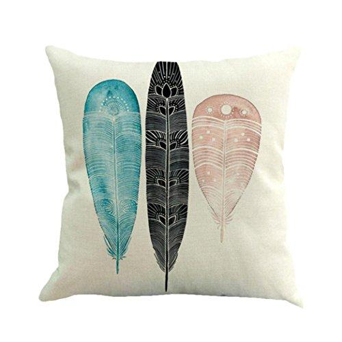 Glorrt Feather Painting Linen Cushion Cover Throw Pillow Case Sofa Home Decor (D)