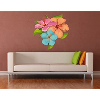Hibiscus Flower Wall Decal by Style u0026 Apply - highest quality wall print decal sticker mural vinyl art home decor - DS 1039 - 16in x 16in  sc 1 st  Amazon.com & Amazon.com: Vinyl Wall Decal Sticker Hibiscus Flowers OS_AA238B ...