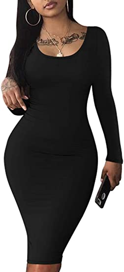 Haola Womens Scoop Neck Long Sleeve Midi Party Bodycon Dress Lady Strench Club Dress