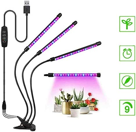 JCBritw Plant Grow Light Replaceable Bulb Clip On Desk Stand LED Grow Light Auto ON Off Timer Full Spectrum Veg Bloom Switch, E26 E27