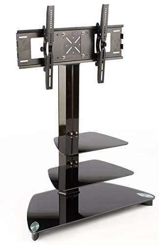 Glass Monitor Stand with 2 Shelves for a 37 to 52 inch Flat Screen TV - Black